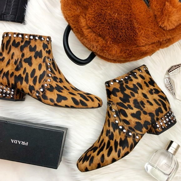 Sam Edelman Shoes - Sam Edelman Animal Print Studded Calf Hair Booties